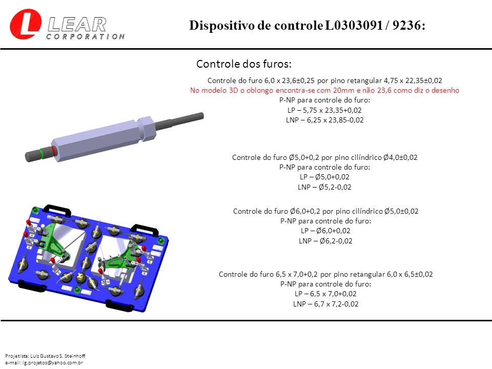 Controle dos furos: Controle do furo 6,0 x 23,6±0,25 por pino retangular 4,75 x 22,35±0,02.
