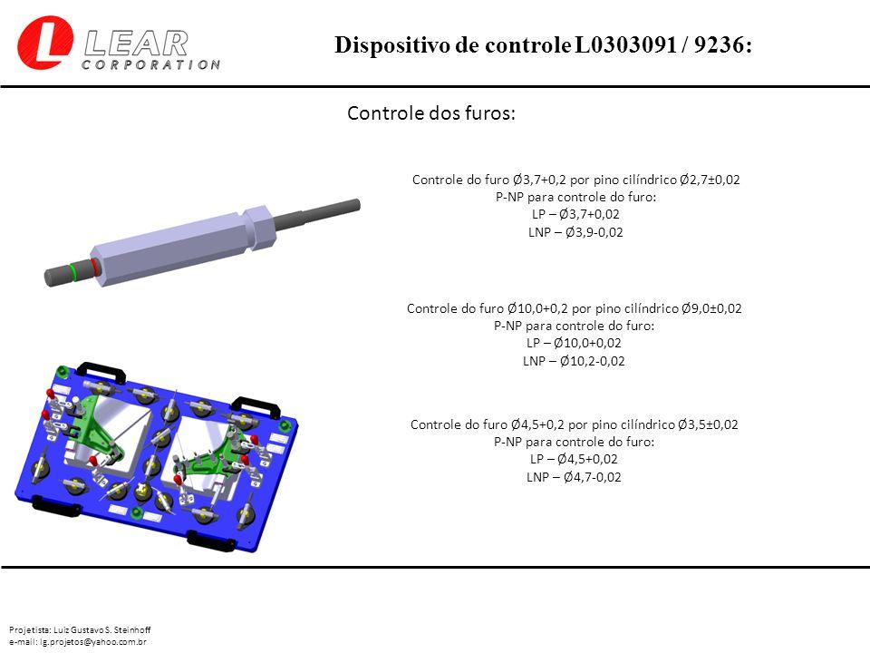 Controle dos furos: Controle do furo Ø3,7+0,2 por pino cilíndrico Ø2,7±0,02. P-NP para controle do furo:
