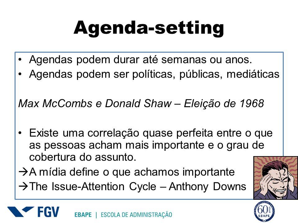 Agenda-setting Agendas podem durar até semanas ou anos.