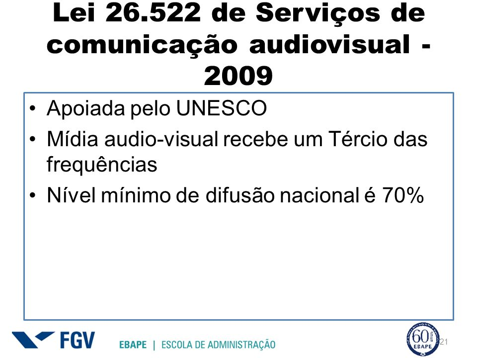 Lei 26.522 de Serviços de comunicação audiovisual - 2009