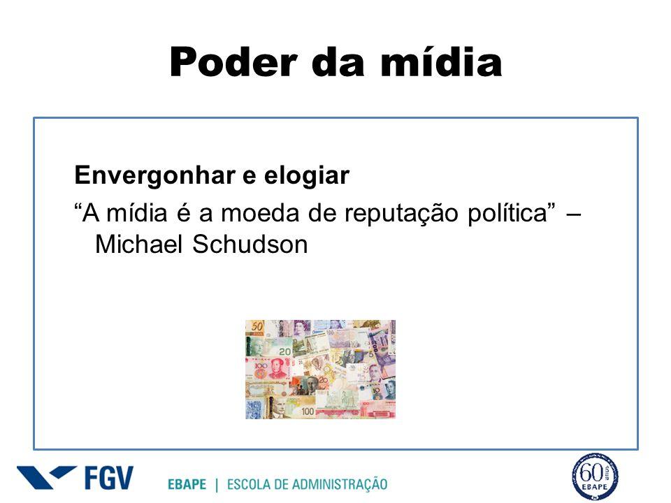 Poder da mídia Envergonhar e elogiar A mídia é a moeda de reputação política – Michael Schudson