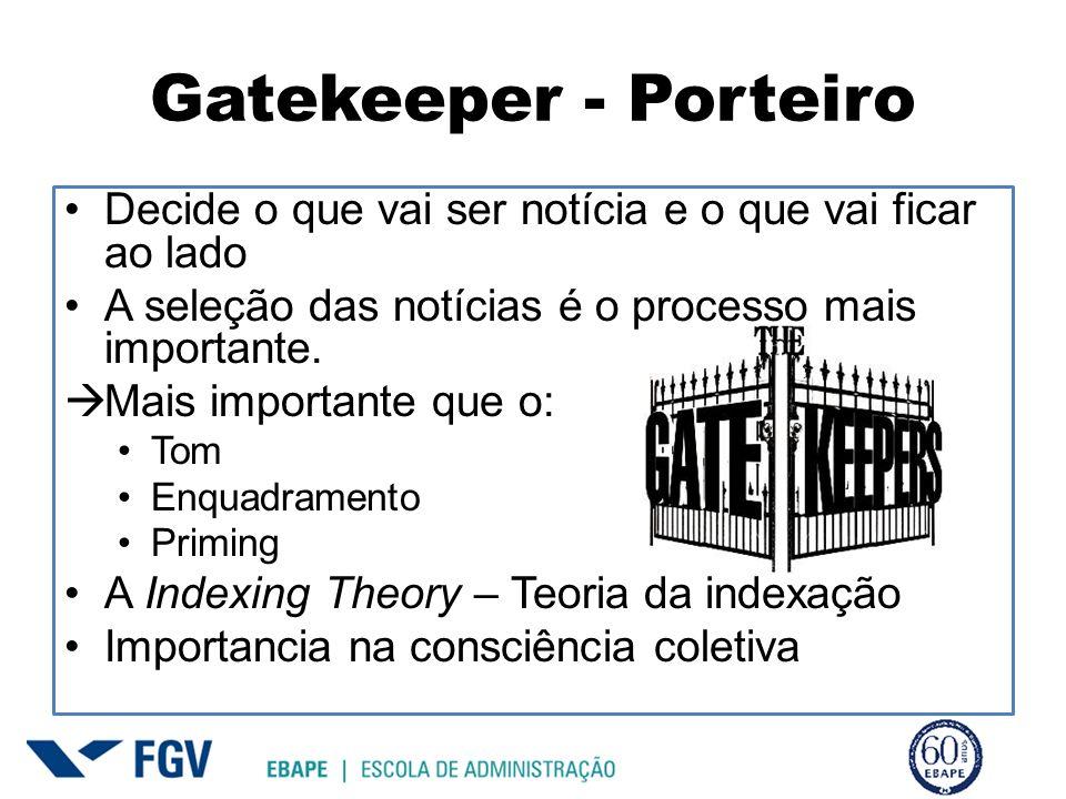 Gatekeeper - Porteiro Decide o que vai ser notícia e o que vai ficar ao lado. A seleção das notícias é o processo mais importante.