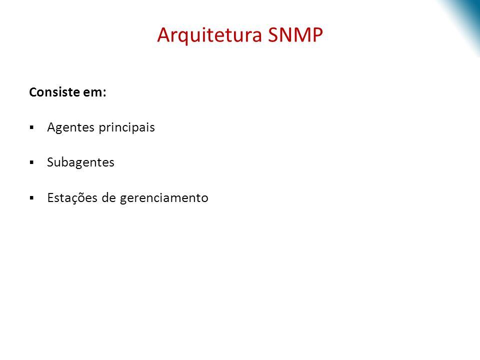 Arquitetura SNMP Consiste em: Agentes principais Subagentes
