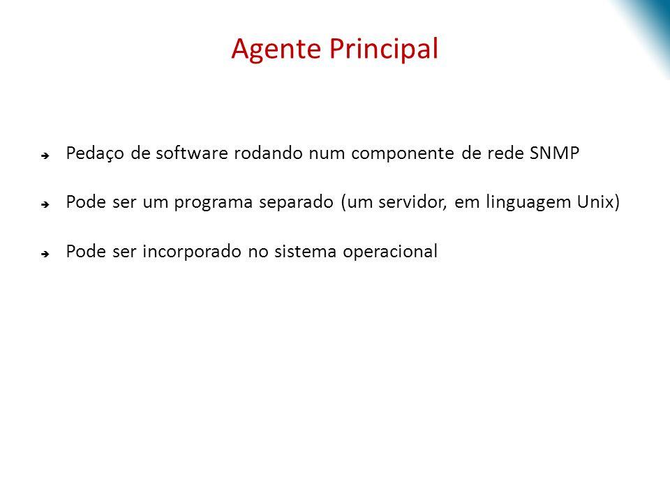 Agente Principal Pedaço de software rodando num componente de rede SNMP. Pode ser um programa separado (um servidor, em linguagem Unix)