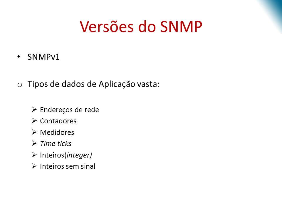 Versões do SNMP SNMPv1 Tipos de dados de Aplicação vasta: