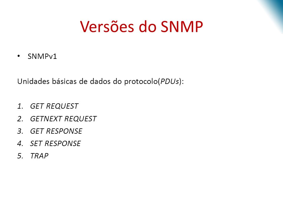 Versões do SNMP SNMPv1 Unidades básicas de dados do protocolo(PDUs):