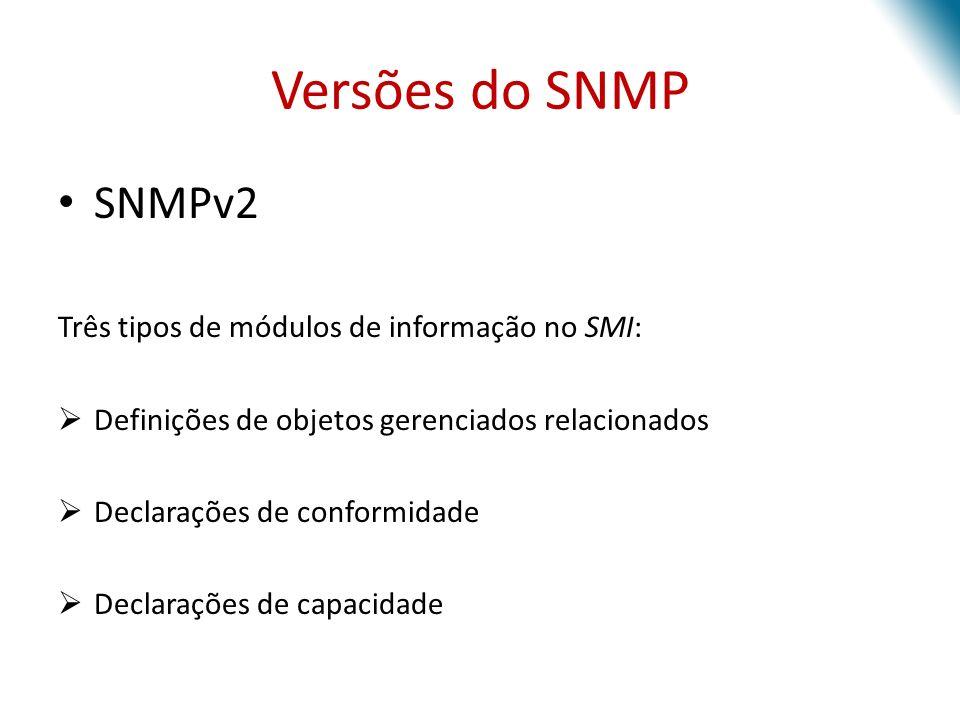Versões do SNMP SNMPv2 Três tipos de módulos de informação no SMI: