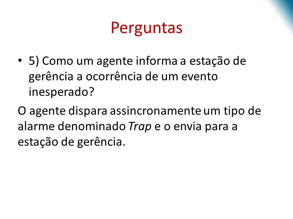 Perguntas 5) Como um agente informa a estação de gerência a ocorrência de um evento inesperado
