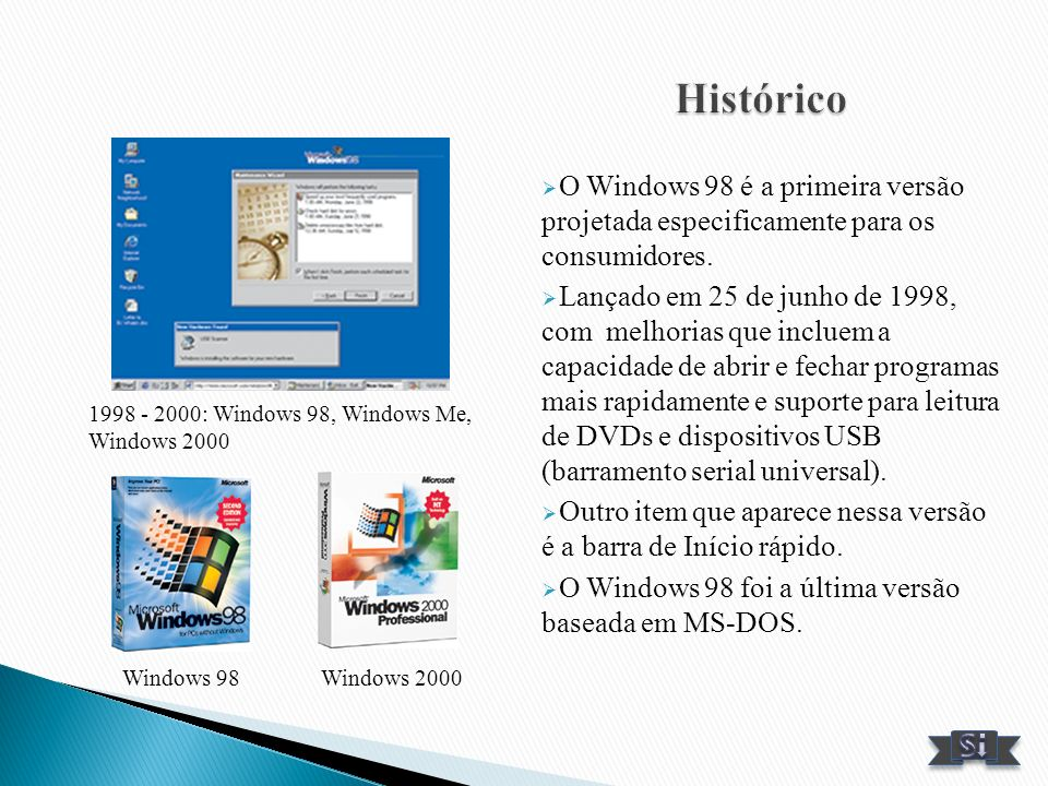Histórico O Windows 98 é a primeira versão projetada especificamente para os consumidores.