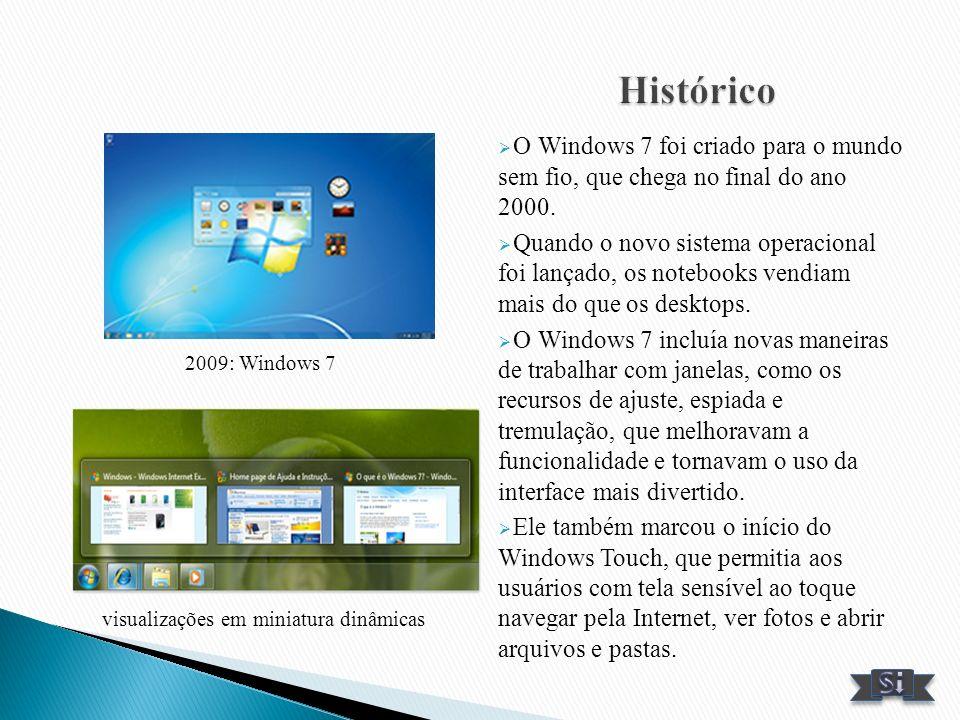 Histórico O Windows 7 foi criado para o mundo sem fio, que chega no final do ano 2000.