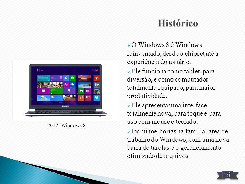 Histórico O Windows 8 é Windows reinventado, desde o chipset até a experiência do usuário.