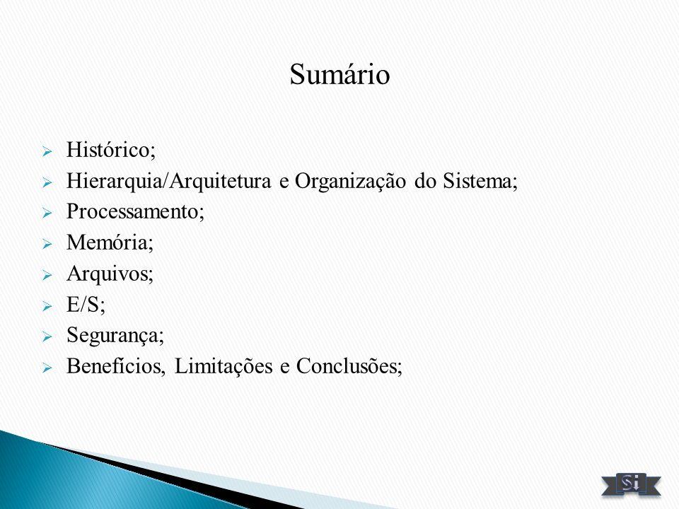 Sumário Histórico; Hierarquia/Arquitetura e Organização do Sistema;