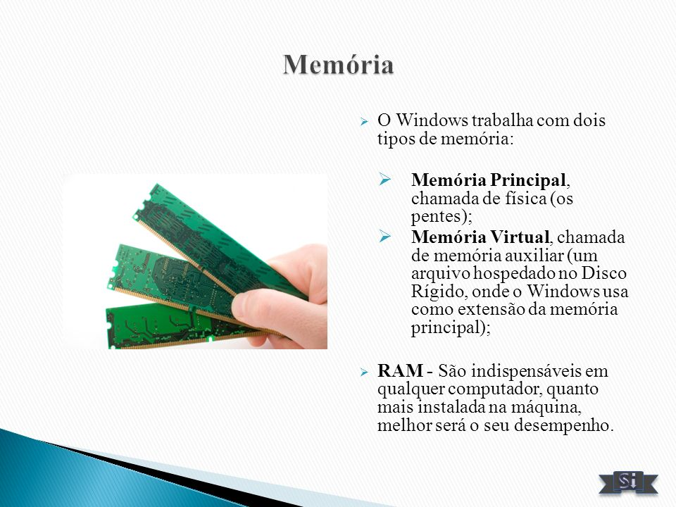 Memória O Windows trabalha com dois tipos de memória: