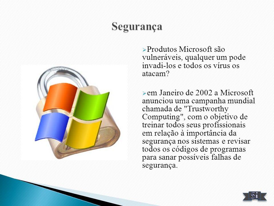 Segurança Produtos Microsoft são vulneráveis, qualquer um pode invadi-los e todos os vírus os atacam