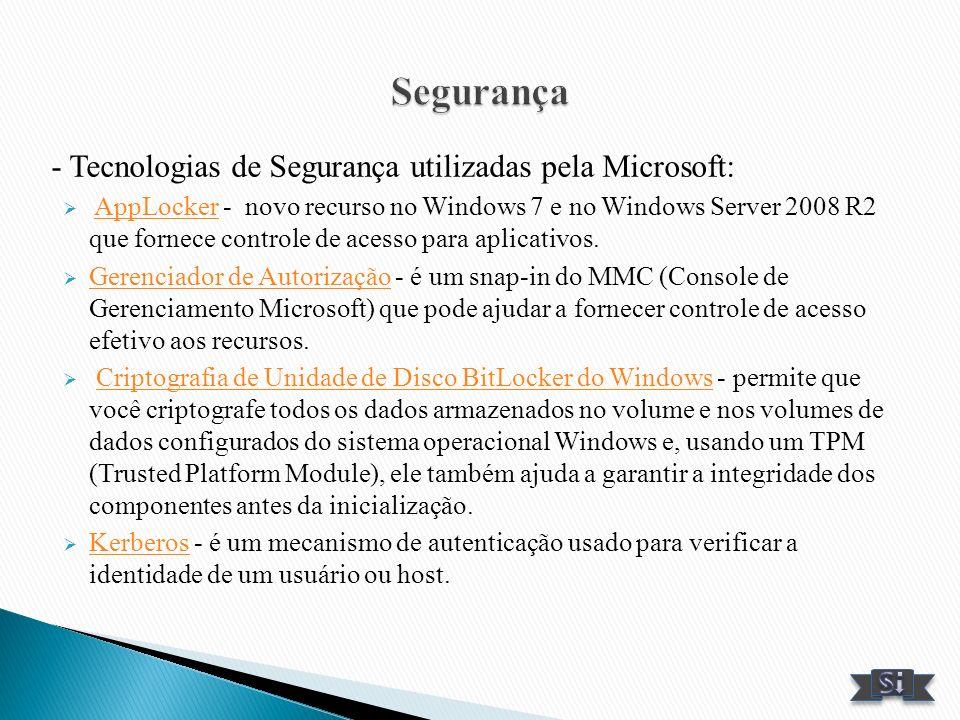 Segurança - Tecnologias de Segurança utilizadas pela Microsoft: