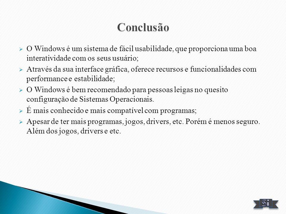 Conclusão O Windows é um sistema de fácil usabilidade, que proporciona uma boa interatividade com os seus usuário;