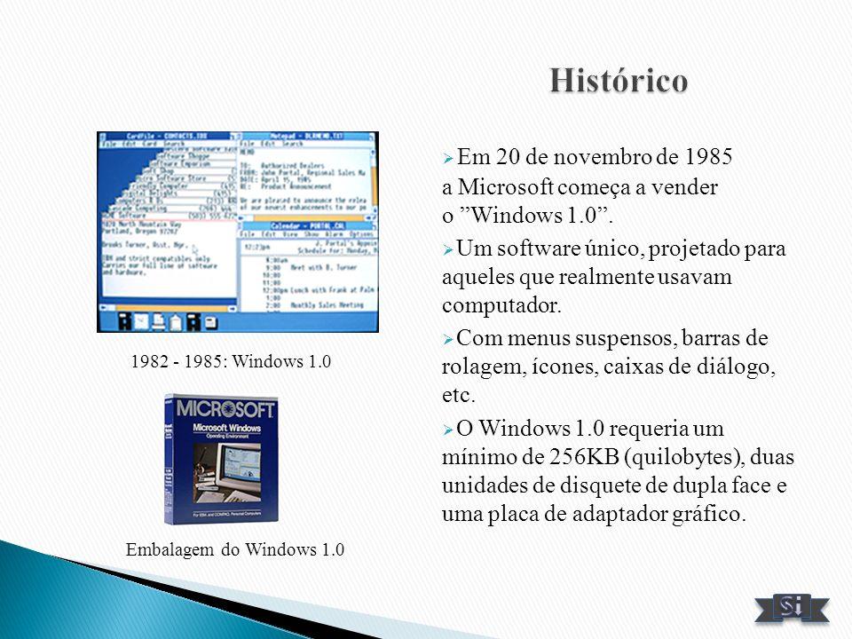 Histórico Em 20 de novembro de 1985 a Microsoft começa a vender o Windows 1.0 .