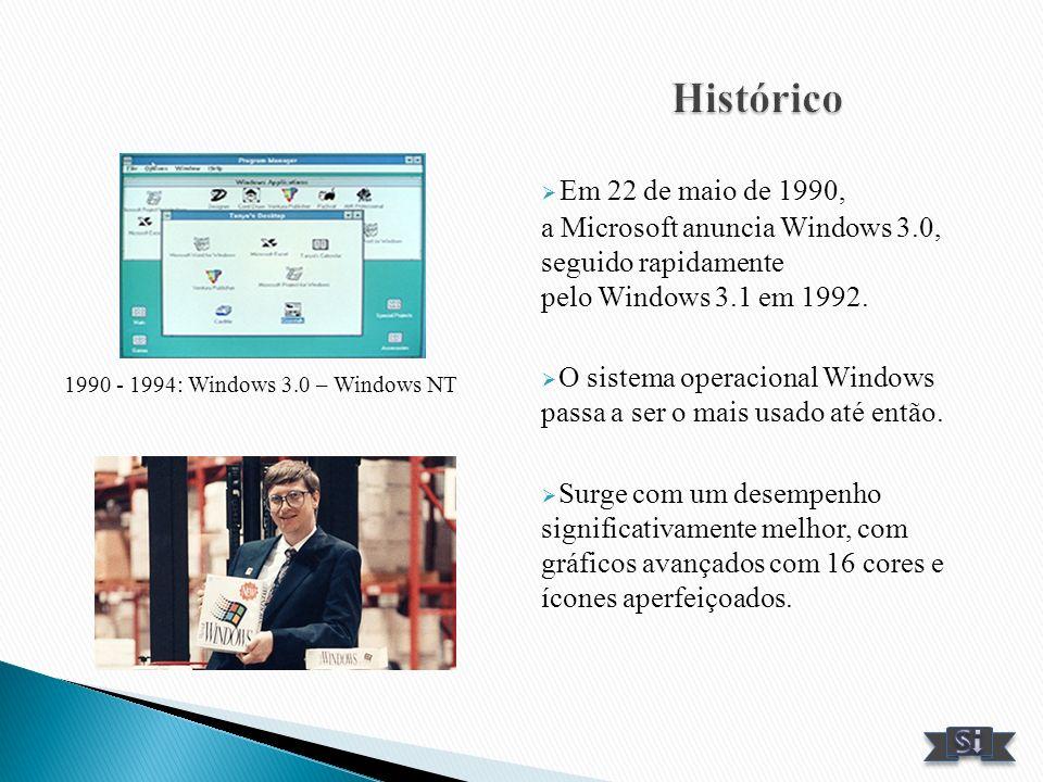 Histórico Em 22 de maio de 1990, a Microsoft anuncia Windows 3.0, seguido rapidamente pelo Windows 3.1 em 1992.