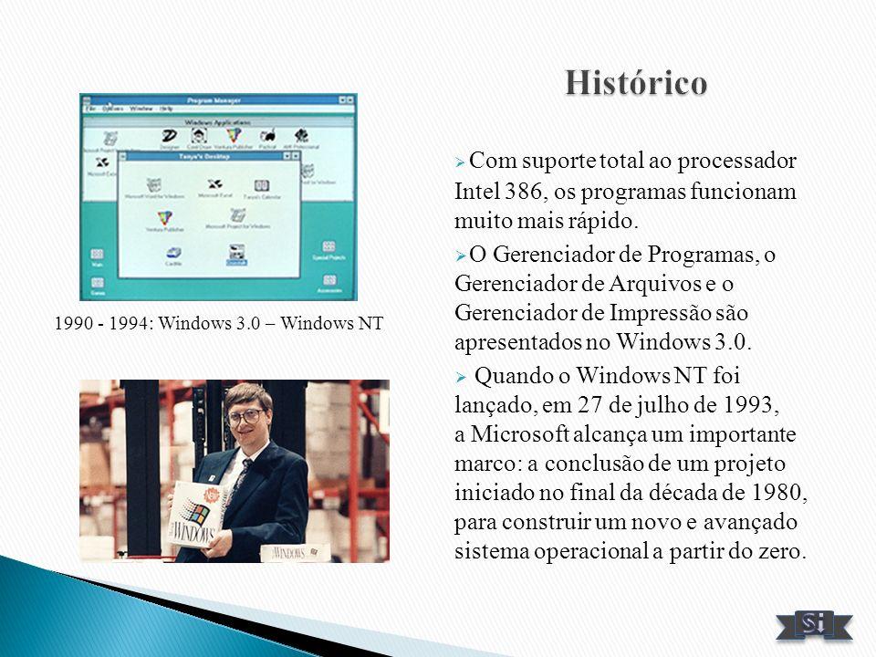 Histórico Com suporte total ao processador Intel 386, os programas funcionam muito mais rápido.