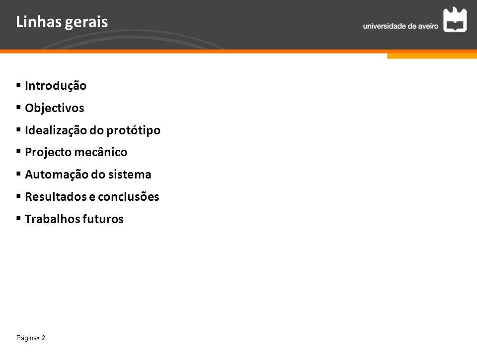 Linhas gerais Introdução Objectivos Idealização do protótipo