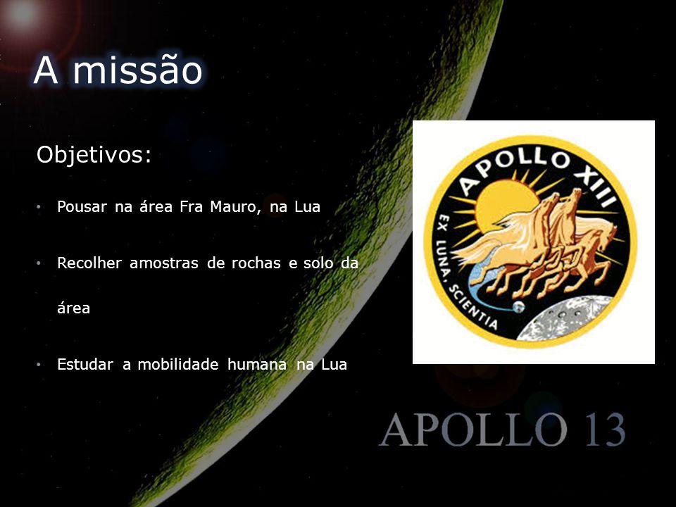 A missão Objetivos: Pousar na área Fra Mauro, na Lua