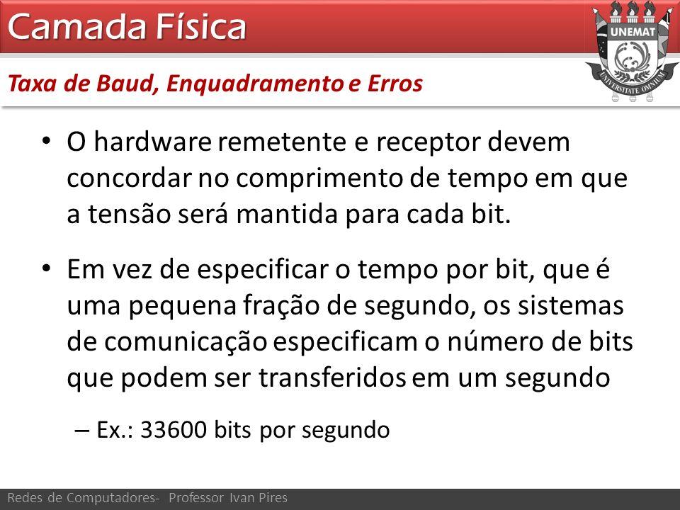 Camada Física Taxa de Baud, Enquadramento e Erros.