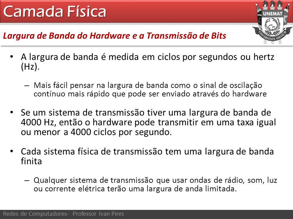 Camada Física Largura de Banda do Hardware e a Transmissão de Bits. A largura de banda é medida em ciclos por segundos ou hertz (Hz).