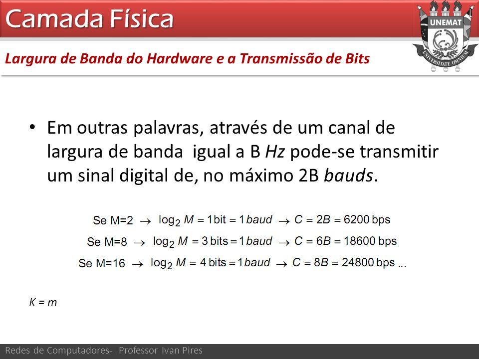 Camada Física Largura de Banda do Hardware e a Transmissão de Bits.