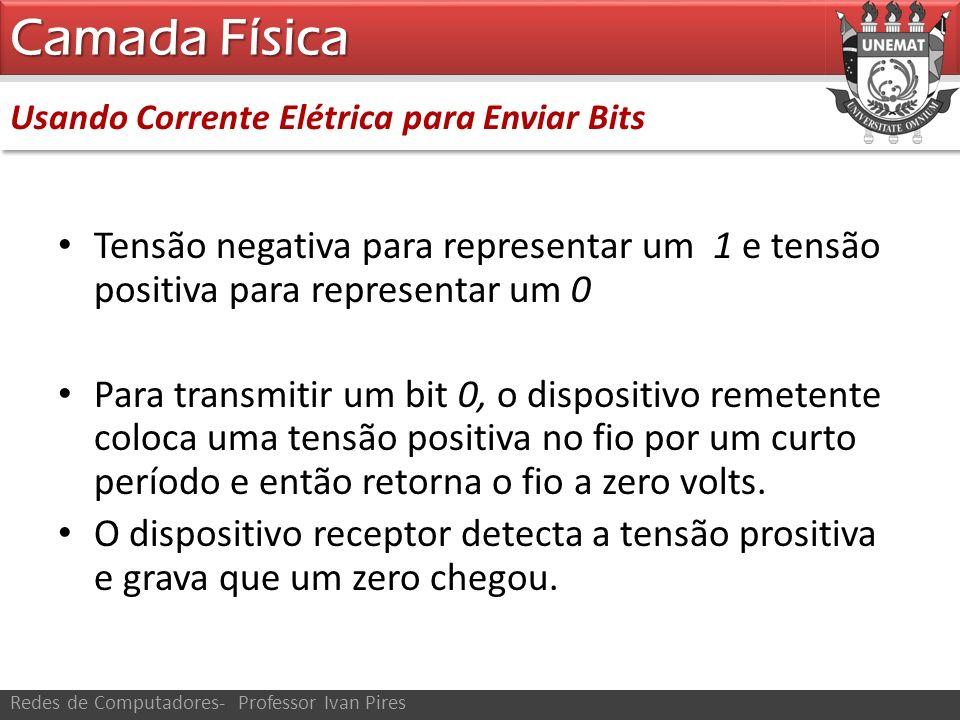 Camada Física Usando Corrente Elétrica para Enviar Bits. Tensão negativa para representar um 1 e tensão positiva para representar um 0.