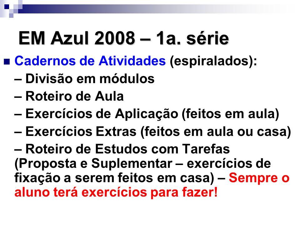 EM Azul 2008 – 1a. série Cadernos de Atividades (espiralados):