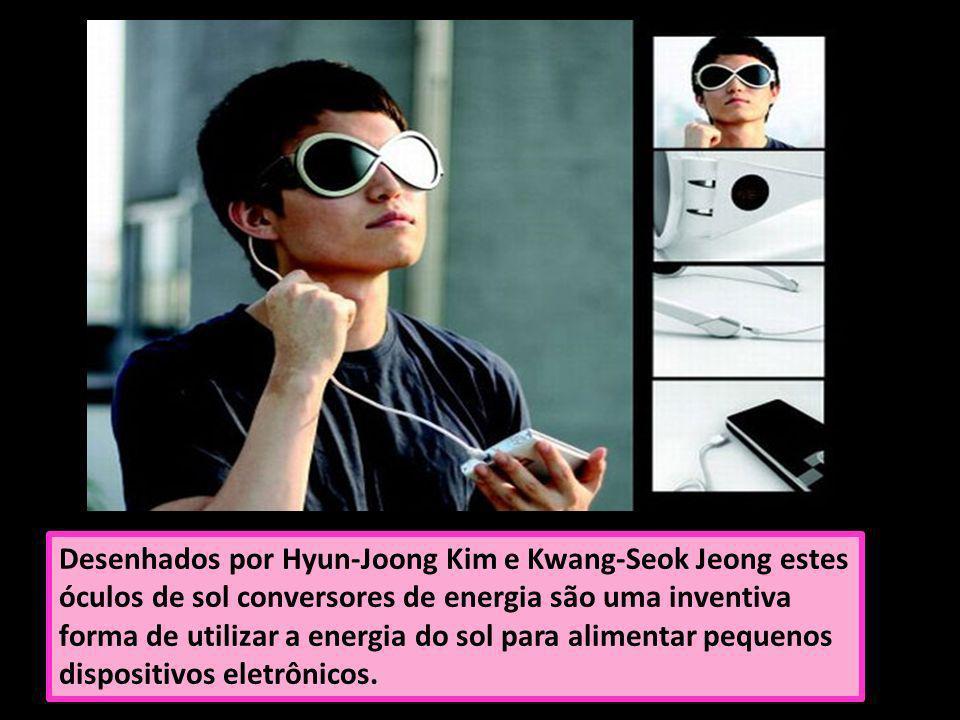 Desenhados por Hyun-Joong Kim e Kwang-Seok Jeong estes óculos de sol conversores de energia são uma inventiva forma de utilizar a energia do sol para alimentar pequenos dispositivos eletrônicos.