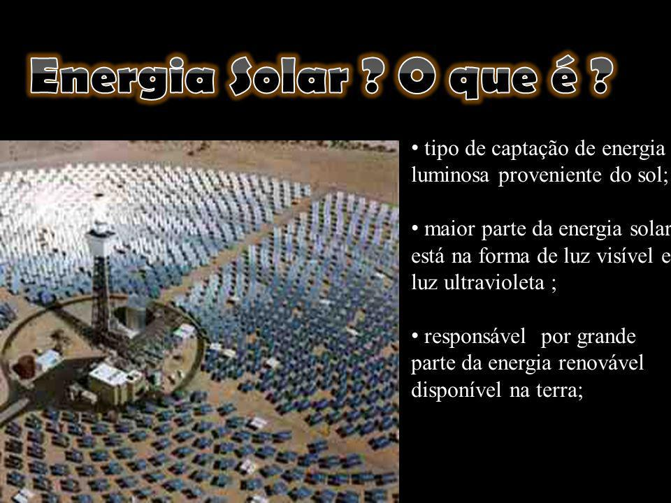 Energia Solar O que é tipo de captação de energia luminosa proveniente do sol;