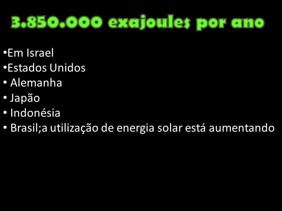 3.850.000 exajoules por ano Em Israel Estados Unidos Alemanha Japão