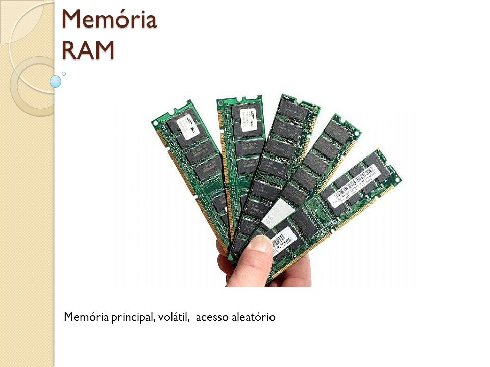 Memória RAM Memória principal, volátil, acesso aleatório