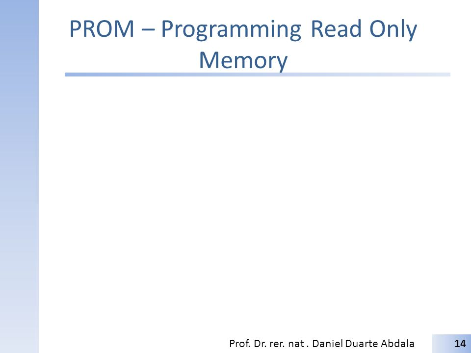 PROM – Programming Read Only Memory