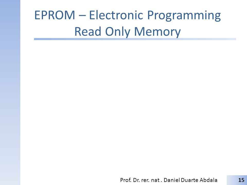 EPROM – Electronic Programming Read Only Memory