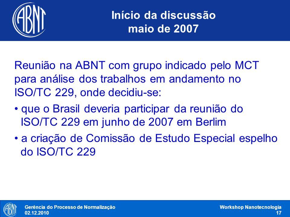 Início da discussão maio de 2007