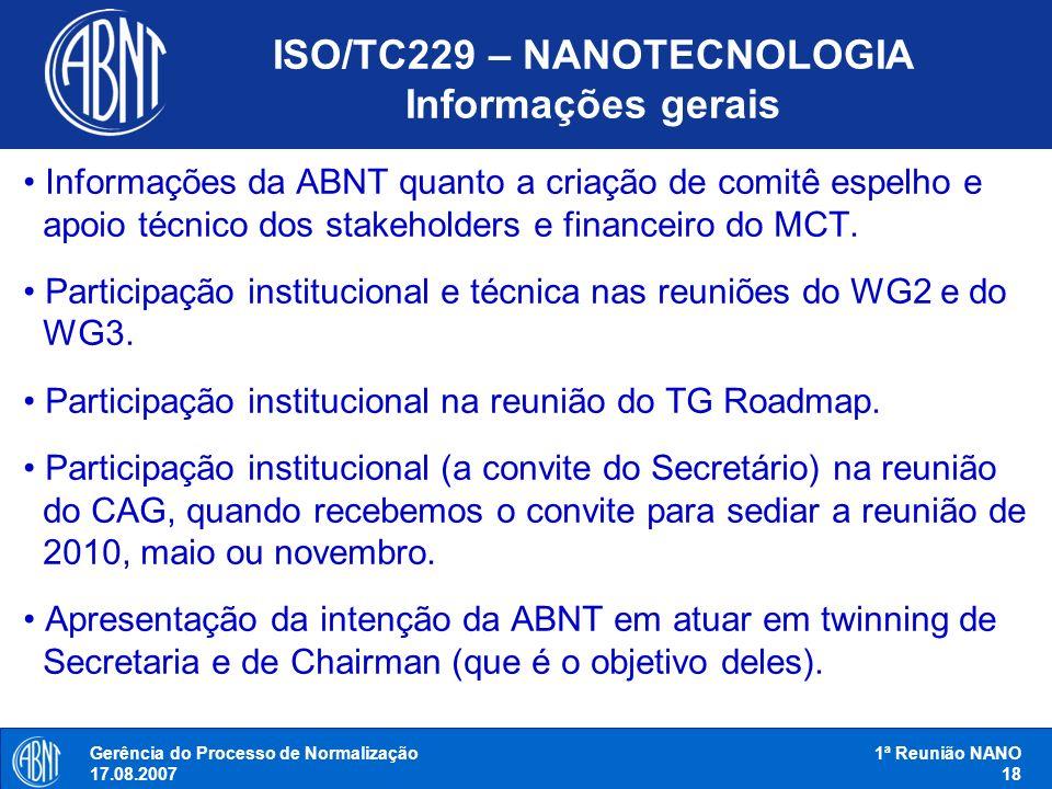 ISO/TC229 – NANOTECNOLOGIA Informações gerais