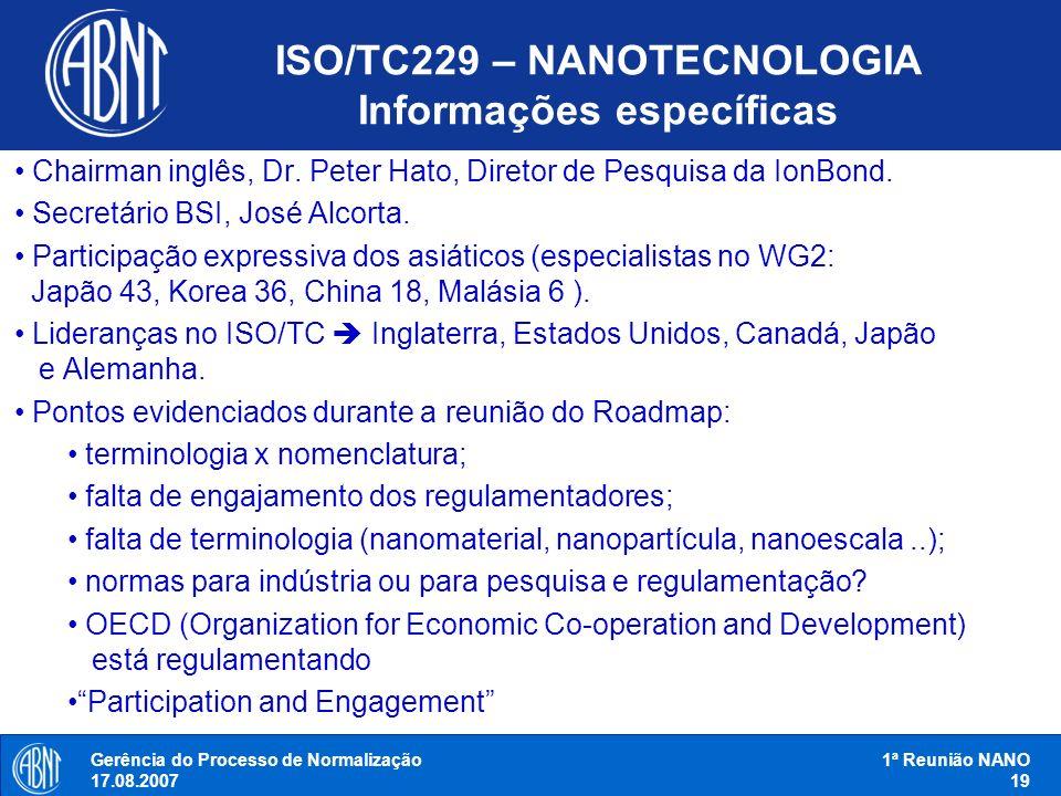 ISO/TC229 – NANOTECNOLOGIA Informações específicas