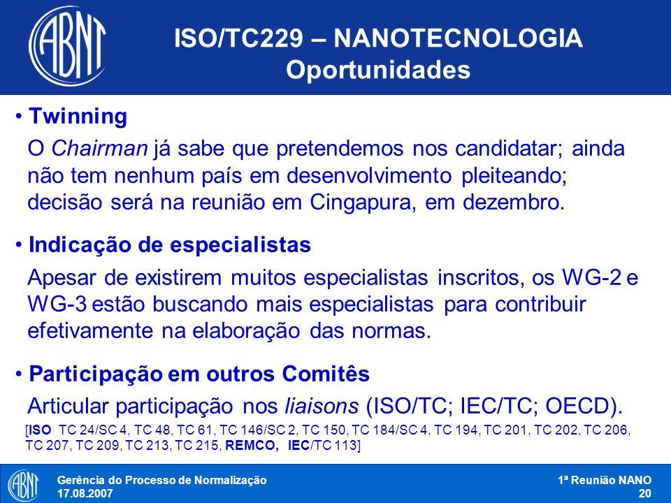 ISO/TC229 – NANOTECNOLOGIA Oportunidades