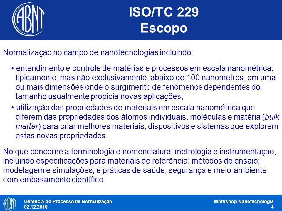 ISO/TC 229 Escopo Normalização no campo de nanotecnologias incluindo: