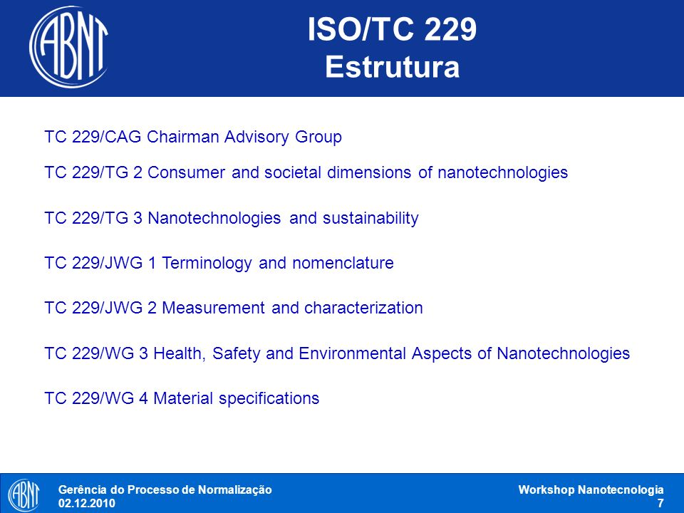 ISO/TC 229 Estrutura TC 229/CAG Chairman Advisory Group