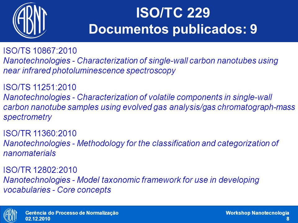 ISO/TC 229 Documentos publicados: 9