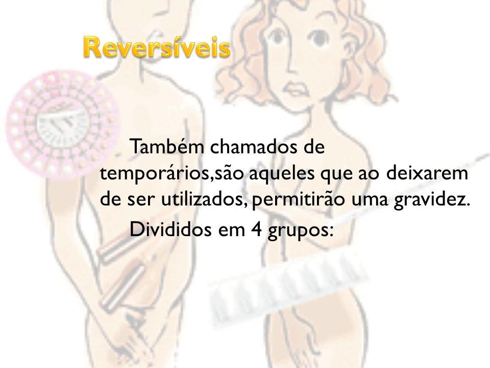 Reversíveis Também chamados de temporários,são aqueles que ao deixarem de ser utilizados, permitirão uma gravidez.