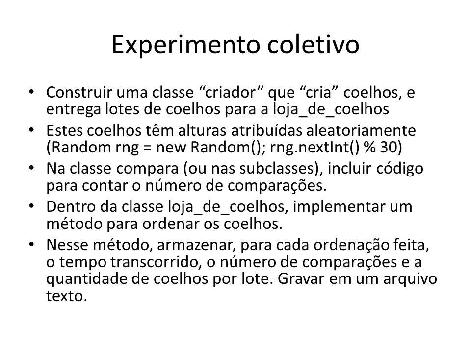 Experimento coletivo Construir uma classe criador que cria coelhos, e entrega lotes de coelhos para a loja_de_coelhos.