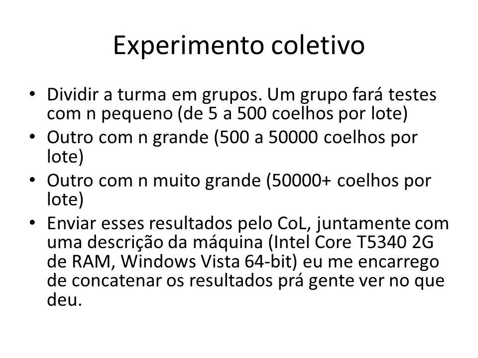 Experimento coletivo Dividir a turma em grupos. Um grupo fará testes com n pequeno (de 5 a 500 coelhos por lote)