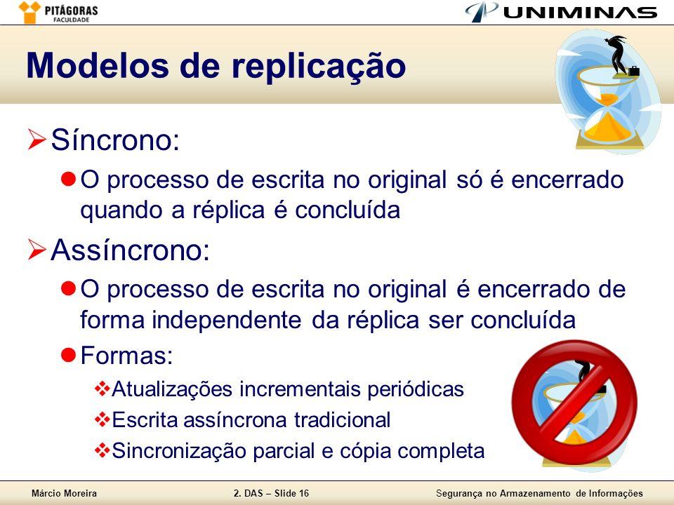 Modelos de replicação Síncrono: Assíncrono: