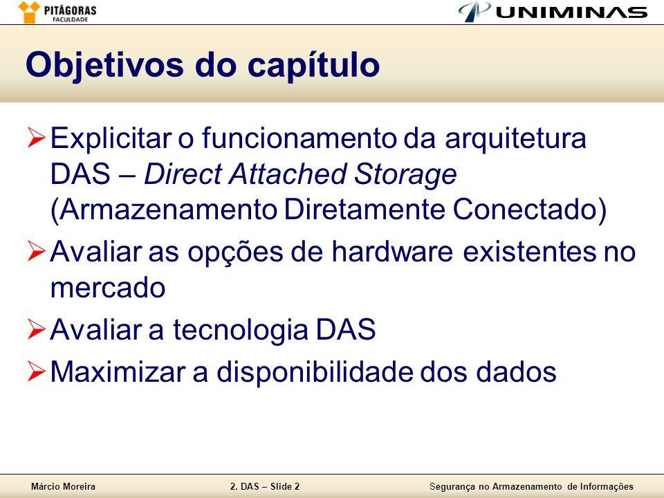 Objetivos do capítulo Explicitar o funcionamento da arquitetura DAS – Direct Attached Storage (Armazenamento Diretamente Conectado)