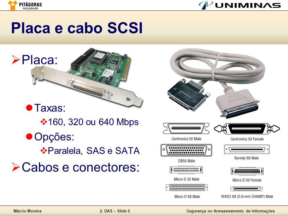 Placa e cabo SCSI Placa: Cabos e conectores: Taxas: Opções: