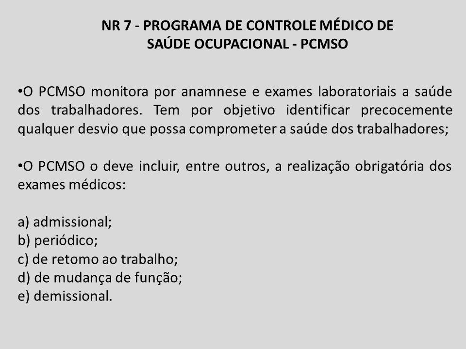 NR 7 - PROGRAMA DE CONTROLE MÉDICO DE SAÚDE OCUPACIONAL - PCMSO